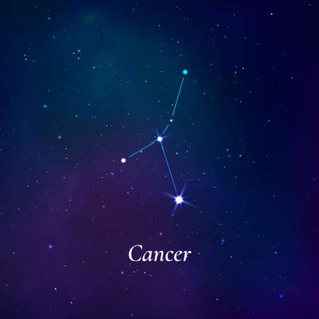 Cancer sign. Stars map of zodiac constellation on dark blue background. Vector Stok Fotoğraf - 162209699
