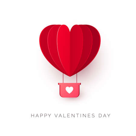 Valentine`s day with paper cut red heart shape air balloon. Be my Valentine illustration. Vector
