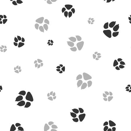 Cat and dog footprints seamless pattern. Pets or animals paw print. Vector 矢量图像