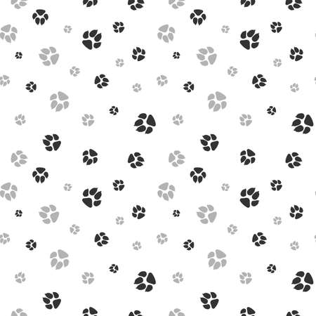 Cat and dog footprints seamless pattern. Pets or animals paw print. Vector isolated on white