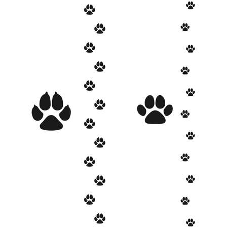 Dogs and cats paws. Pet footprint flat icon. Vector illustration isolated on white background