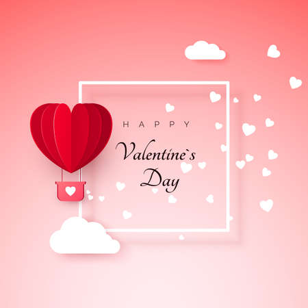Valentines day greeting card with paper cut red heart shape balloon flying. Balloon flies and leaves a trail with hearts decorations. Vector illustration