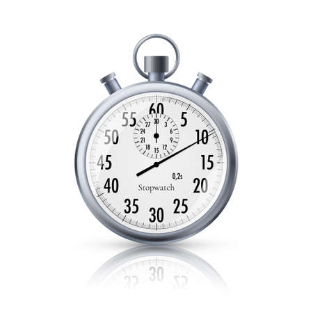 Stopwatch in realistic style. Classic metal stopwatch with reflection. Vector illustration