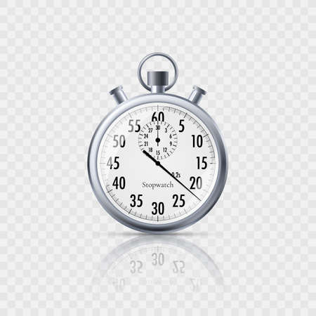 Stopwatch in realistic style with reflection isolated on transparent background. Classic metal stopwatch. Vector