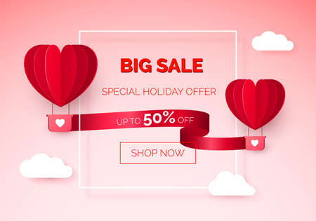 Valentines day seasonal sale. Hot air balloons with red ribbon and discount offer on it. vector illustration