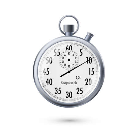 Stopwatch in realistic style. Classic metal stopwatch. Vector