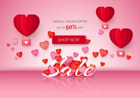 Valentines day Sale poster with holiday discount offer. Valentine Day banner with red and pink hearts and air balloons. February store promo. Vector illustration