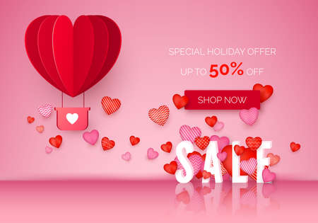 Valentines day Sale poster with holiday discount offer. February store promo. Valentine Day banner with red and pink hearts and air balloon. Vector illustration 矢量图像
