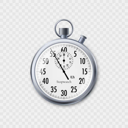 Stopwatch in realistic style. Classic metal stopwatch. Vector illustration