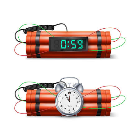 Dynamite Bomb with Countdown Clock and Digital Timer. Military Detonate Red Weapon. Vector illustration