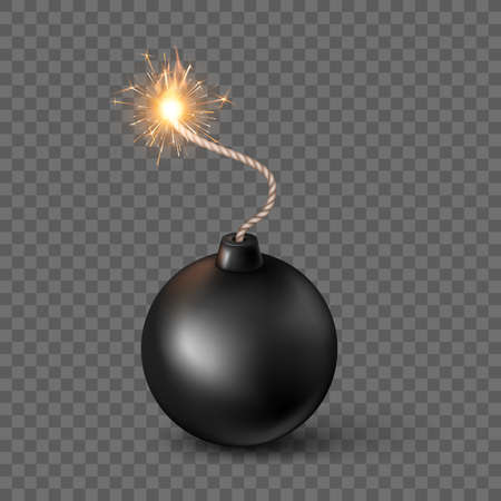 Black Sphere Bomb. Burning fuse black bomb in realistic style. Vector illustration