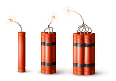 Dynamite Bomb with Burning Wick. Military Detonate Red Weapon. Vector illustration isolated on white background