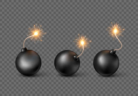 Set of Bombs. Burning fuse black bomb in realistic style. Vector illustration isolated on transparent background