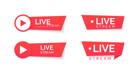 Set of live stream red icons. Online streaming Banner. Vector illustration  イラスト・ベクター素材