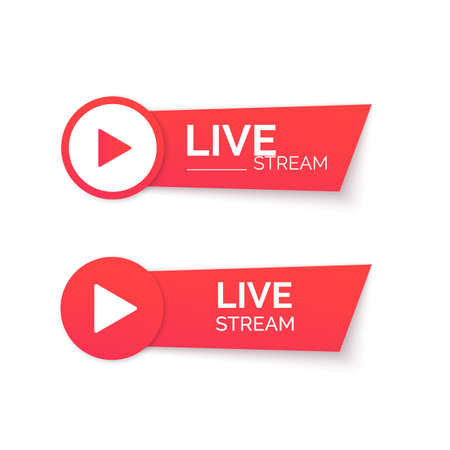 Live stream red icon. Online streaming Banner. Vector 矢量图像