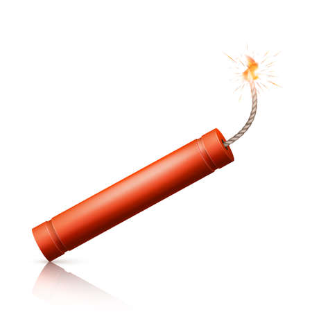 Dynamite Bomb with Burning Wick. Military Detonate Red Weapon. Vector illustration