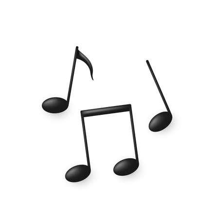 Black volume music note symbols or icons. Vector illustration isolated on white  イラスト・ベクター素材