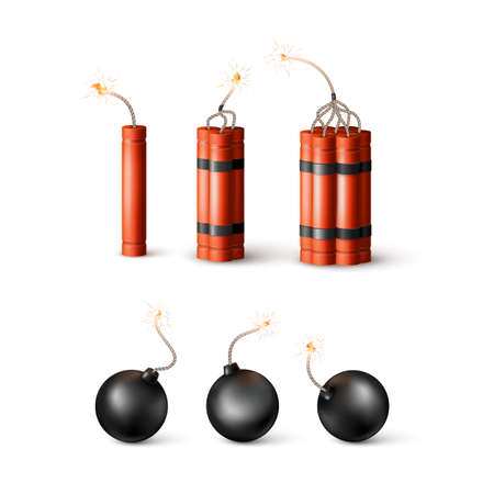 Set of Dynamite Bomb with Burning Wick and black sphere bomb. Military Detonate Weapon. Vector illustration
