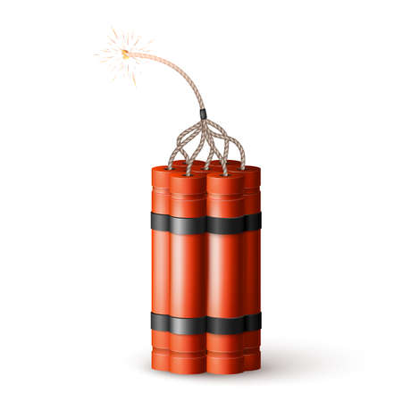 Dynamite Bomb with Burning Wick. Military Detonate Red Weapon. Vector