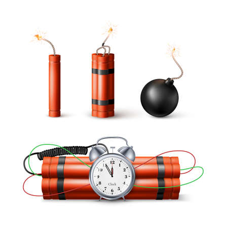Dynamite Bomb with Countdown Clock and Black Sphere Bomb. Military Detonate Weapon. Vector illustration isolated on white 矢量图像