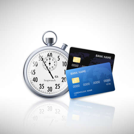 Timer and credit card. Fast Loan Concept. Vector illustration