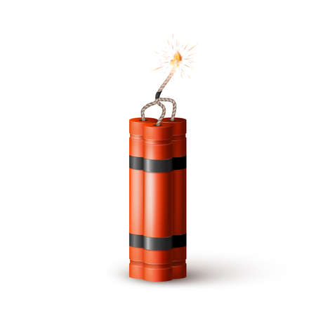 Red Dynamite Bomb with Burning Wick. Military Detonate Weapon. Vector
