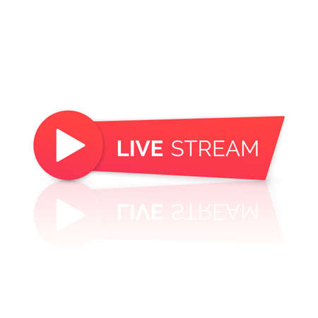 Online streaming Banner with reflection. Live stream red icon. Vector illustration