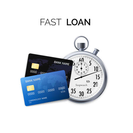 Fast Loan Concept. Timer and credit card. Vector illustration