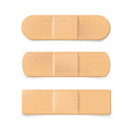 Realistic illustration of plaster bandage. beige medical band. Vector illustration 矢量图像
