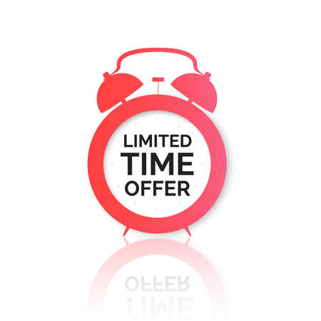 Alarm clock with special offer on dial. Limited time offer banner. Big sale discount. Vector illustration Stok Fotoğraf - 161631012