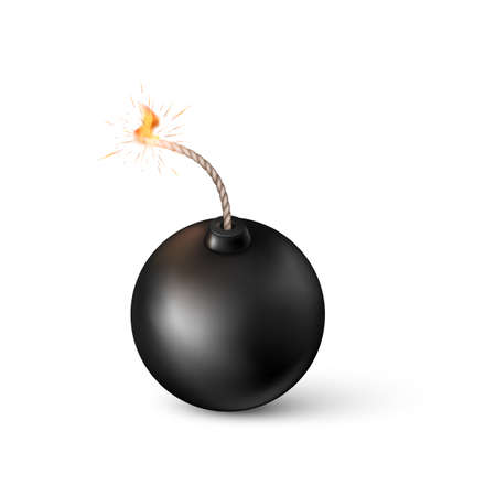 Bomb. Burning fuse black bomb in realistic style. Vector illustration Stok Fotoğraf - 161631043