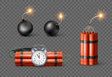 Set of Dynamite Bomb with Burning Wick and black sphere bomb. Military Detonate Red Weapon. Vector illustration