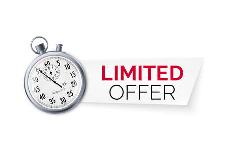 Stopwatch with special offer. Limited time offer banner. Big sale discount. Vector