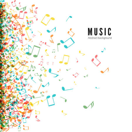 Abstract music background with color notes symbols. Vector