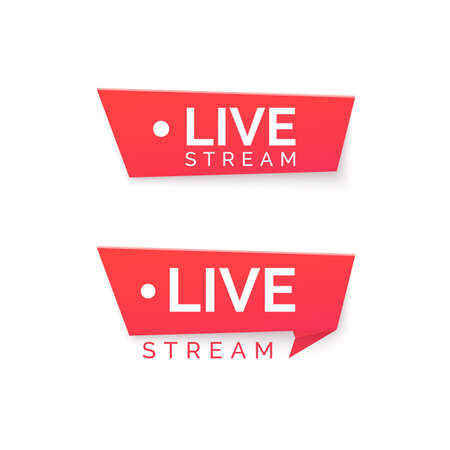 Online streaming Banner. Live stream red icon. Vector illustration 矢量图像