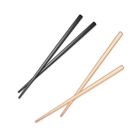 Realistic black and light wooden glossy chopsticks. Chopstick element Asian or oriental traditional culture. Vector isolated on white