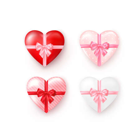 Set of heart shaped gift boxes with silk bow. Valentines day greeting card template element. Vector