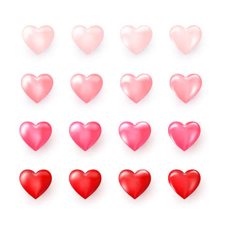 Set of red and pink decorative Hearts. Stylized Hearts collection for wedding decoration or greeting card on Valentines day or other templates. Abstract decoration element. Vector