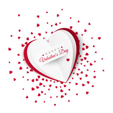 Valentine card with confetti on background. Romantic decoration element for Valentines Day or Womens Day. Vector illustration isolated on white background