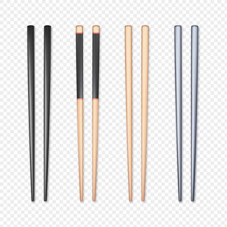 Set of realistic chopsticks. Chopstick element Asian or oriental traditional culture. Vector isolated on white Stok Fotoğraf - 162180223