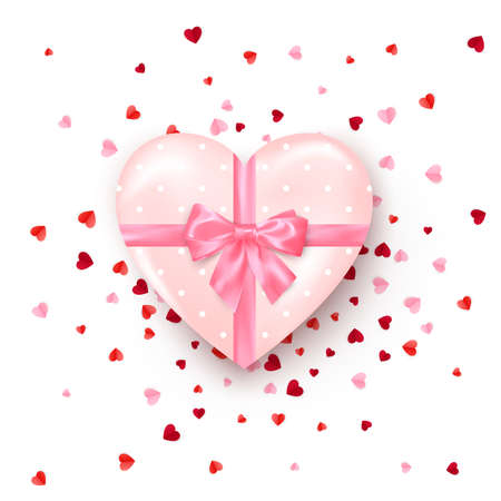 Gift in hearts shaped box with pink silk bow. Present for Valentine's day decorated confetti. Vector Stok Fotoğraf - 162180224