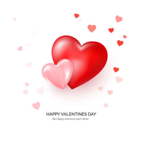 Couple of red and pink hearts with greeting text. Valentines day greeting card template. Vector Çizim