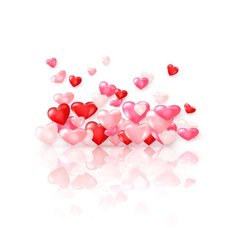 Groupe of glossy red hearts with reflection. Valentines day decoration element. Vector