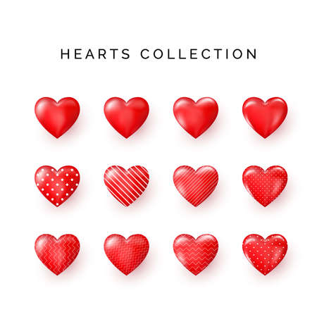 Set of red decorative Hearts with shadow. Abstract decoration element. Stylized Hearts collection for greeting card on Valentines day or other templates. Vector illustration
