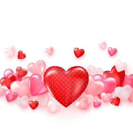 Groupe of glossy red hearts. Bright Valentine`s day background. Vector Çizim