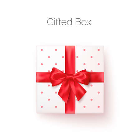 White gift box with red silk bow in realistic style top view. Vector