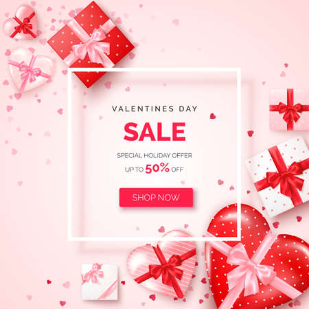 Valentines day holiday offer. Web banner with white frame decorated gifts boxes with silk ribbon and bow. Vector