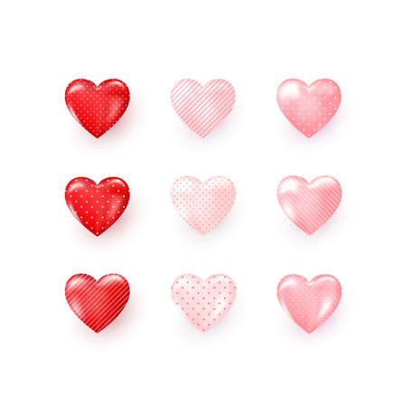 Set of red and pink decorative Hearts with shadow ornate dots and stripes. Stylized Hearts collection for greeting card on Valentines day or other templates. Abstract decoration element. Vector