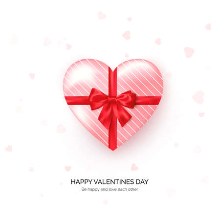 Heart shaped gift box with red silk bow. Valentines day greeting card template. Vector Çizim