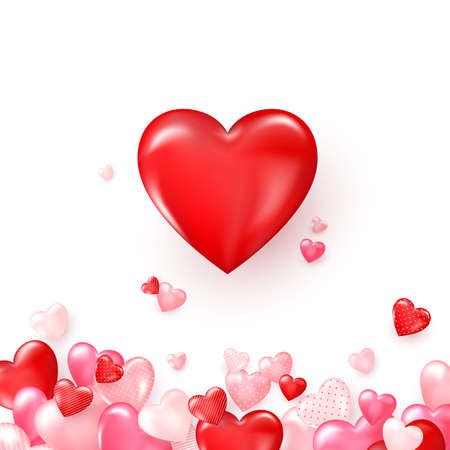 Valentines card with red shiny hearts. Bright Valentine`s day background. Vector illustration